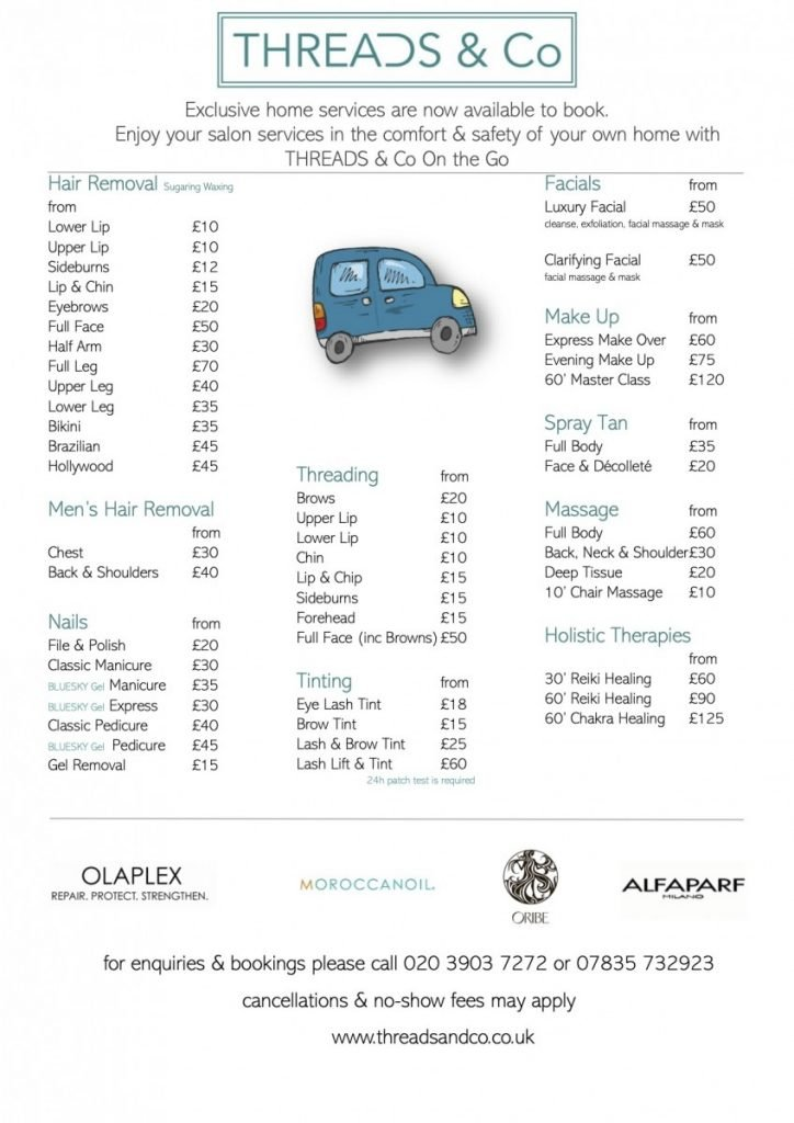 THREADS & Co Beauty pricelist