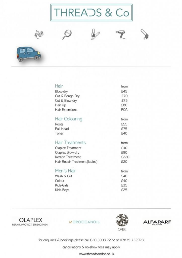 THREADS & Co - Hair Pricelist